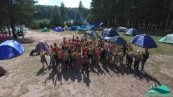Отдыхающие детского палаточного лагеря Розовый одуванчик